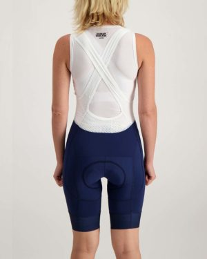 Ladies navy ProXision bibshort. Designed and manufactured by Enjoy.