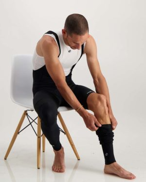 Mens Mono leg warmers. Designed and manufactured by Enjoy.