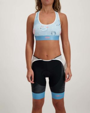 Ladies Pool Party sports bra. Designed and manufactured by Enjoy.