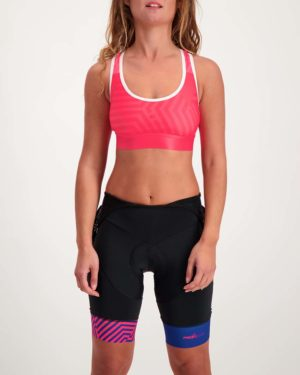 Ladies Prismatic sports bra. Designed and manufactured by Enjoy.