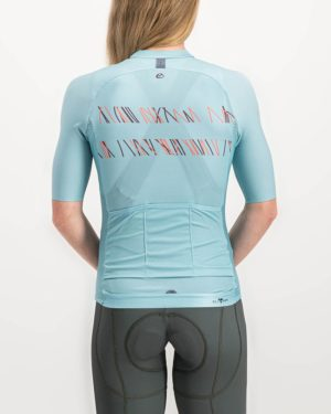 Ladies Carter ricky blue coloured Climber Cycle Top. Designed and manufactured by Enjoy cycling apparel.