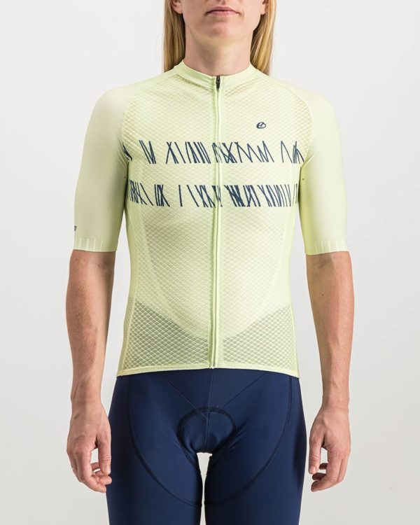 Ladies Carter Defo Yellow coloured Climber Cycle Top. Designed and manufactured by Enjoy cycling apparel.