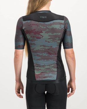 Ladies Diffraction Sleeved Trine Top. Designed and manufactured by Enjoy cycling apparel.