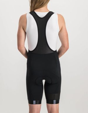 Ladies Black Coloured Octane Bibshorts. Designed and manufactured by Enjoy cycling apparel.
