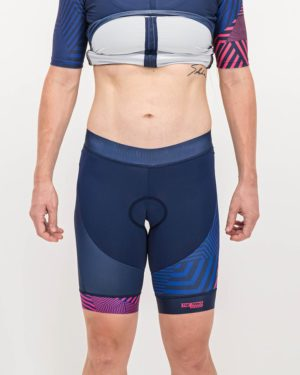 Ladies Prismatic Trine Shorts. Designed and manufactured by Enjoy cycling apparel.