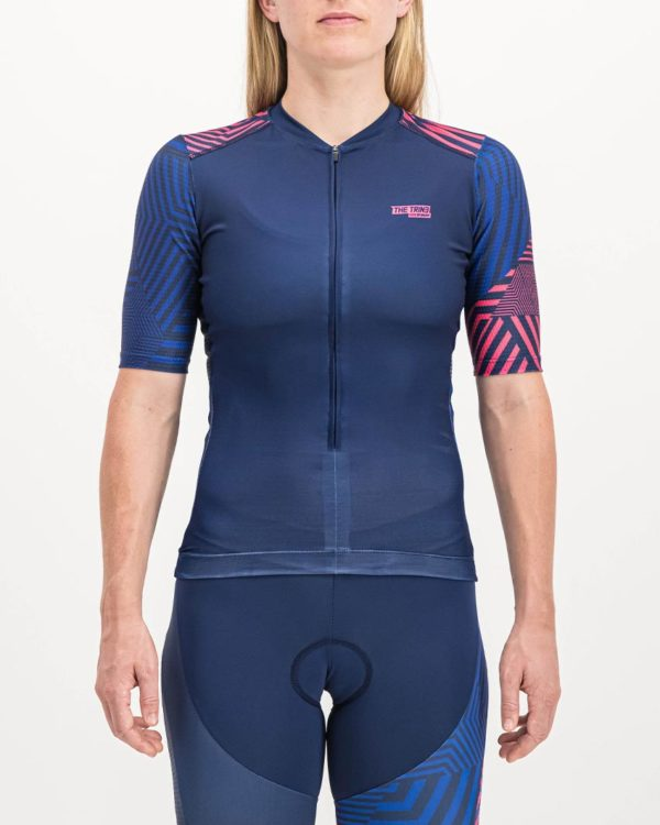 Ladies Prismatic Sleeved Trine Top. Designed and manufactured by Enjoy cycling apparel.