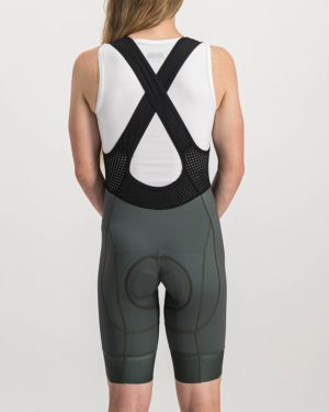 Ladies Peat Coloured ProXision Bibshorts. Designed and manufactured by Enjoy cycling apparel.