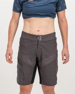 Ladies Grey Coloured Reptilia Trail Short. Designed and manufactured by Enjoy cycling apparel.