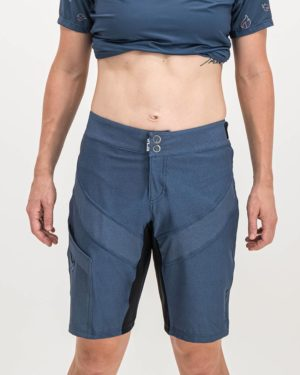 Ladies Navy Coloured Reptilia Trail Short. Designed and manufactured by Enjoy cycling apparel.