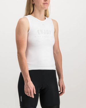 Ladies Semester White Coloured Regulator Vest. Designed and manufactured by Enjoy cycling apparel.