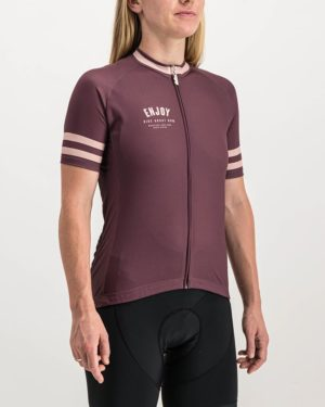 Ladies Semester maroon coloured Supremium Cycle Top. Designed and manufactured by Enjoy cycling apparel.