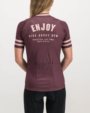 Ladies Semester baroon coloured Supremium Cycle Top. Designed and manufactured by Enjoy cycling apparel.