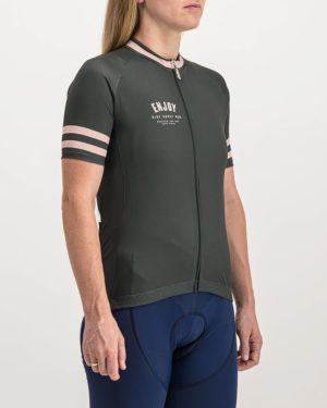 Ladies Semester peat coloured Supremium Cycle Top. Designed and manufactured by Enjoy cycling apparel.