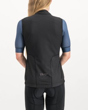 Ladies Semester black coloured Winter Gilet. Designed and manufactured by Enjoy cycling apparel.