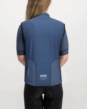 Ladies Semester Navy coloured Winter Gilet. Designed and manufactured by Enjoy cycling apparel.