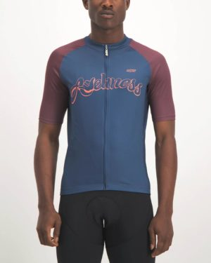 custom cycling kit-Mens Awehness navy coloured Supremium Cycle Top. Designed and manufactured by Enjoy cycling apparel.
