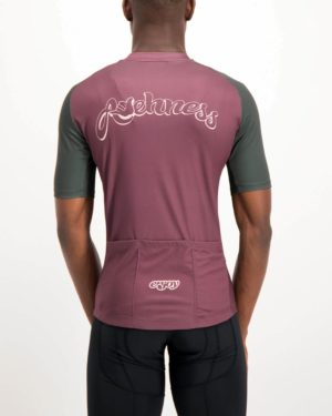 Mens Awehness maroon coloured Supremium Cycle Top. Designed and manufactured by Enjoy cycling apparel.