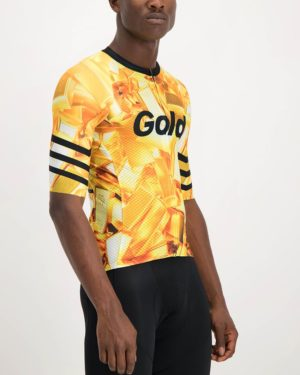 Mens 24 Carat Climber Cycling Shirt. The Climber range of cycling shirts by Enjoy are shaved of anything excess so expect tight fitting minimalist cuts that are engineered for flat out racing.