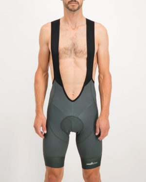 Mens peat coloured ProXision Bib Shorts. Designed and manufactured by Enjoy cycling apparel.