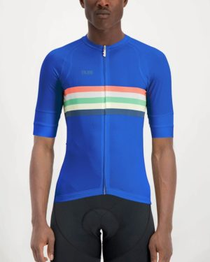 Mens Rainbow Nation Richard blue coloured Octane Cycle Top. Designed and manufactured by Enjoy cycling apparel.