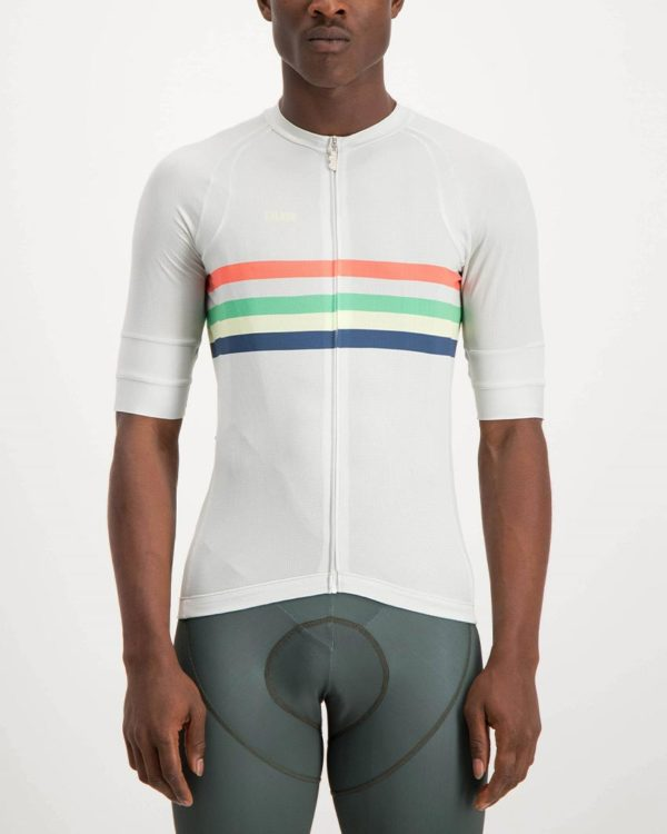 Mens Rainbow Nation white coloured Octane Cycle Top. Designed and manufactured by Enjoy cycling apparel.