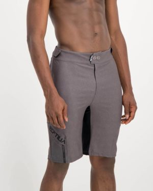 Mens grey coloured Reptilia Enduro Trail Shorts. Designed and manufactured by Enjoy cycling apparel.