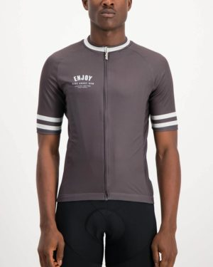 Mens Semester Cool coal coloured Supremium Cycle Top. Designed and manufactured by Enjoy cycling apparel.