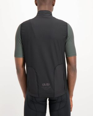 Mens Semester Black coloured Winter Gilet. Designed and manufactured by Enjoy cycling apparel.