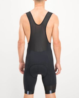 Mens Black coloured Octane Bib Shorts. Designed and manufactured by Enjoy cycling apparel.