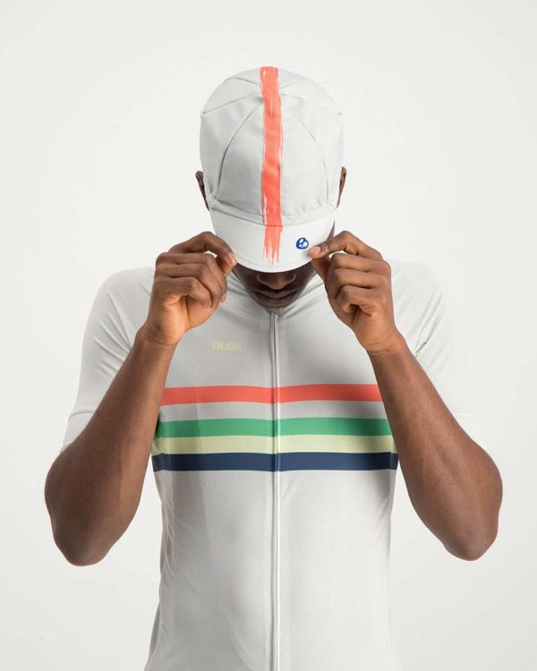 Mens Bikealangelo retro cycle cap. Designed and manufactured by Enjoy cycling apparel.