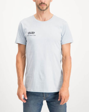 Enjoy light grey Ride About Now casual tee shirt. Made from 100% cotton. Designed by Enjoy Cycling Clothing.