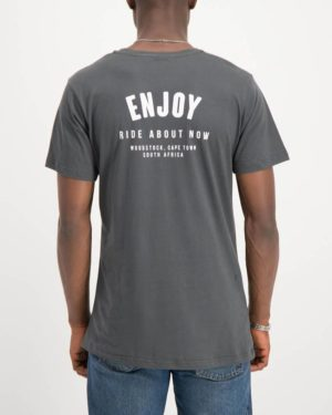 Enjoy gunmetal grey Ride About Now casual tee shirt. Made from 100% cotton. Designed by Enjoy Cycling Clothing.