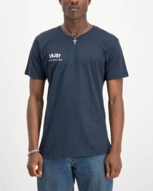 Enjoy navy Ride About Now casual tee shirt. Made from 100% cotton. Designed by Enjoy Cycling Clothing.