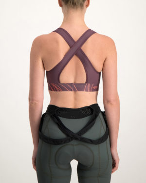 Ladies Carter baroon sports bra. Designed and manufactured by Enjoy Cycling Apparel.