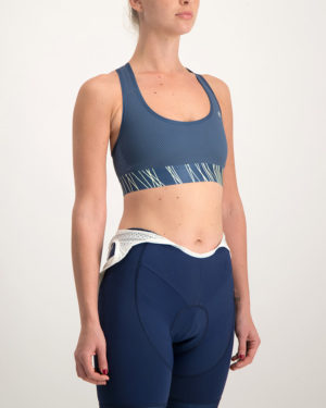 Ladies Carter navy sports bra. Designed and manufactured by Enjoy Cycling Apparel.