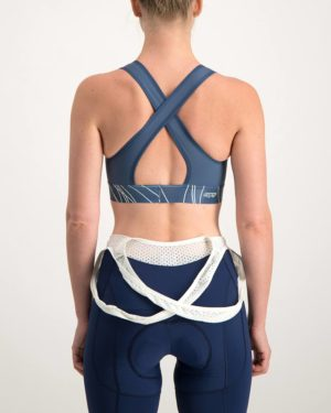 Ladies Carter navy sports bra. Designed and manufactured by Enjoy Cycling Apparel South Africa.