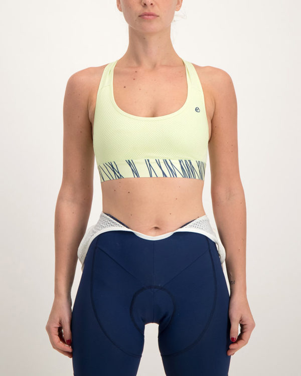 Ladies Carter lemon sports bra. Designed and manufactured by Enjoy Cycling Apparel.