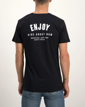 Enjoy black Ride About Now casual tee shirt. Made from 100% cotton. Designed by Enjoy Cycling Clothing.