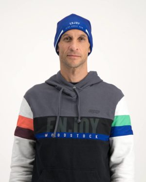 Mens Semester Blue Fleeced Beanie. Designed and manufactured by Enjoy Cycling Apparel.