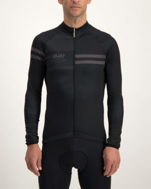 Men's Semester black fleeced Cocoon riding jersey. Designed and manufactured by Enjoy.