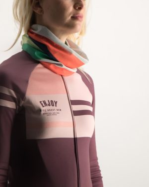 Ladies Rainbow Nation neck warmer (ladies cycling clothes). Designed and manufactured by Enjoy Cycling Apparel.