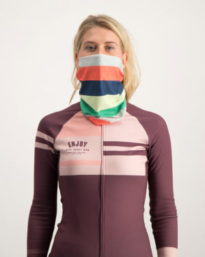 Ladies Rainbow Nation neck warmer. Designed and manufactured by Enjoy Cycling Apparel.