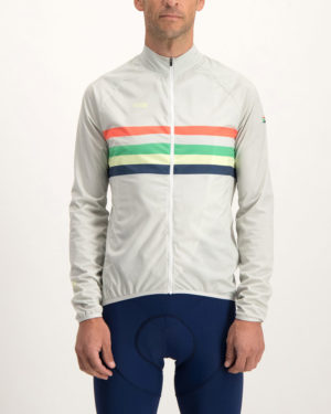 Mens Rainbow Nation Waterproof Climber cycling jacket. Designed and manufactured by Enjoy Cycling apparel.