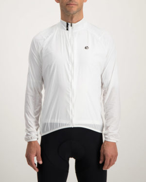 Mens Arctic white Atom cycling jacket. Featuring Extreme windstopper technology. Designed and manufactured by Enjoy cycling apparel.
