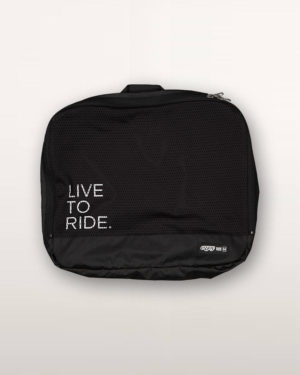 Live To Ride Racepack travel bag. Designed and manufactured by Enjoy Cycling Apparel.