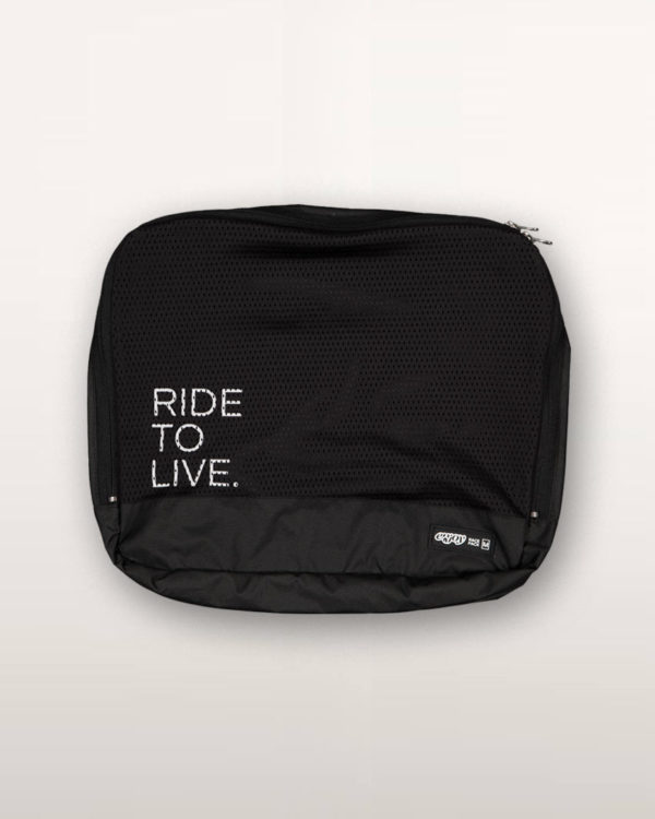 Ride To Live Racepack travel bag. Designed and manufactured by Enjoy Cycling Apparel.