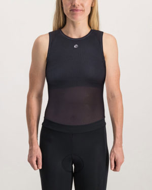Front of the ladies cycling baselayer in the black Emotif design made by enjoy.cc