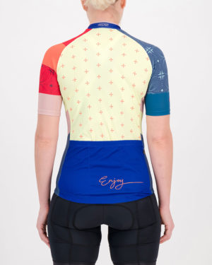 Back of the ladies cycling jersey in the blue Stellar Supremium design made by enjoy.cc