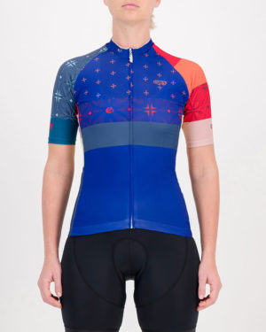 Front of the ladies cycling jersey in the blue Stellar Supremium design made by enjoy.cc
