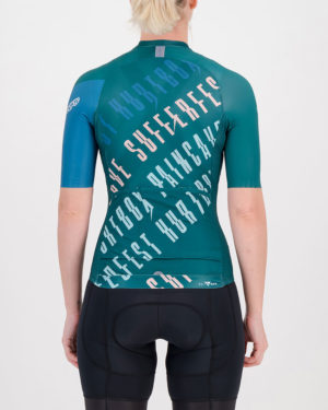 Back of the ladies cycling shirt in the slippery green Yes Coach Climber design made by enjoy.cc